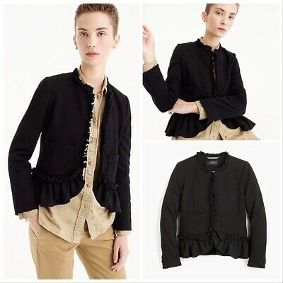 AU98.37 • Buy NWT $168 J.CREW Sizes 0 8 12 The Going-out Blazer With Ruffles BLACK Item H7250