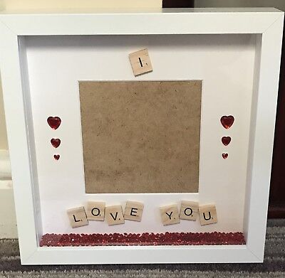Handmade Personalised Scrabble Photo Frame I Love You Valentine's Couple Gift • 16£