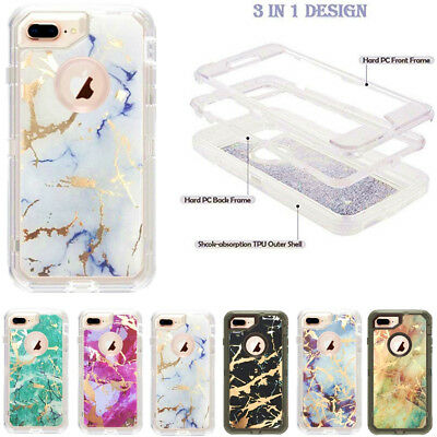 AU12.01 • Buy For Apple IPhone 6/6s Luxury Marble Clear Transparent Hard Defender Armor Case