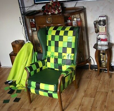 Reupholstered Patchwork Wing Chair Designers Guild Leatherette Green Minecraft • 199.99£
