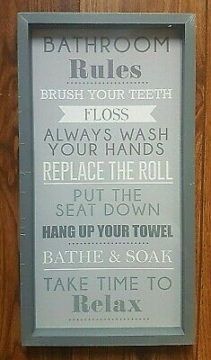 New Grey White Bathroom Rules Decorative Hanging Wall Art Framed Picture Plaque • 9.50£