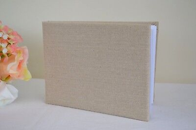 Country Style Wedding Guest Book, Hessian & Linen Lace, Pearls Or Hearts • 13.95£