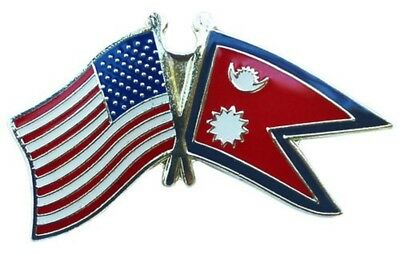 USA American Nepal Friendship Flag Bike Motorcycle Hat Cap Lapel Pin • 4.43£