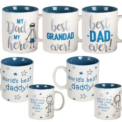 Gift Boxed White Mug With Blue Writing - Fathers Day - Choose Design • 5.99£