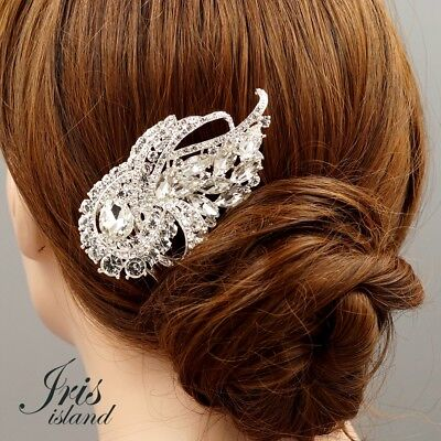 $7.99 • Buy Bridal Hair Comb Clip Clear Crystal Headpiece Wedding Accessories Pin 05250