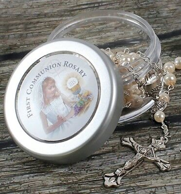 First Holy Communion Rosary Beads Girls & Screw Top Gift Box • 4.99£
