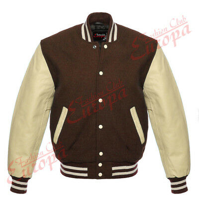 £63.72 • Buy Top Quality Varsity Letterman College Wool Jacket With Real Leather Sleeves