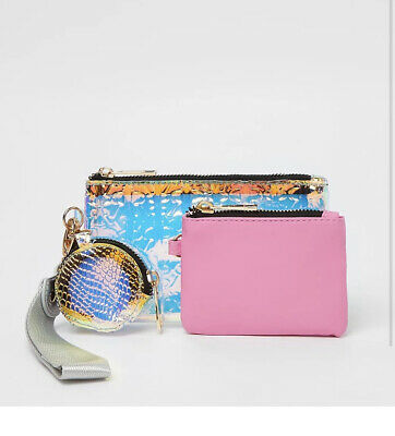 RIVER ISLAND Gold Mix Suede Panel Chain Cross Body Bage New WITH TAGS • 16.99£