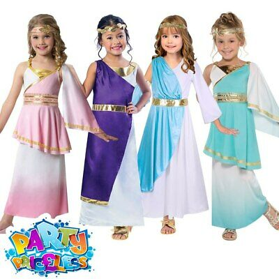 Kids Girls Greek Goddess Costume Roman Toga Childs Fancy Dress Outfit Book Day • 13.29£