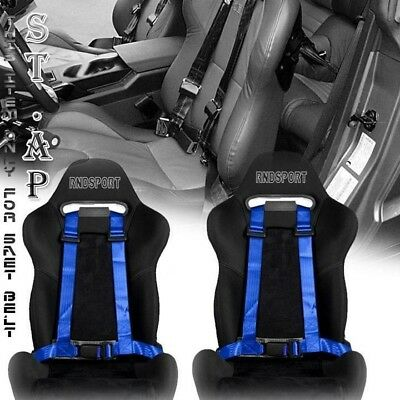 $43.29 • Buy Fit Car 2x(two) Jdm 4-point Racing Safety Harness 2  Inch Strap Seat Belt Blue
