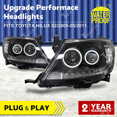AU385.50 • Buy Black DRL HALO Angel Eye Headlights To Suit Toyota Hilux 2005-2011 Projector OZ