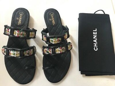 a730d5524d7088 CHANEL Red White Tweed Quilted Chain Strap Toe Slide Slip On Sandal Size  36.5 • 425.00