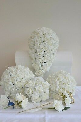 £23.99 • Buy Wedding Bouquet Posy Flowers. Buttonhole, Grooms Corsage, Flower Girl Wand, Bag