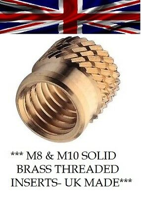 £4.95 • Buy Threaded Solid Brass Insert For Plastic Cold/heat Press-fit Ultrasonic M8 & M10