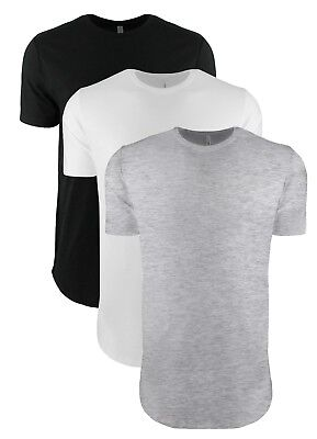 Mens Mans BLACK GREY Or WHITE Extra Long Length Cotton Tee Next Level T-Shirt • 8.99£