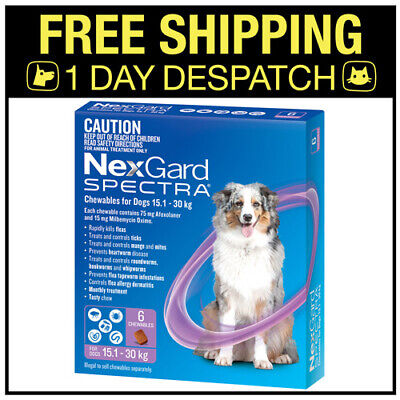 AU107.55 • Buy NexGard Spectra Chewables For Dogs Purple 15.1-30kg 6 Pack