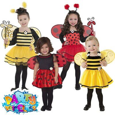 Kids Ladybird Bumblebee Costume Girls Fancy Dress Bugs Insects Book Week Outfit • 11.29£