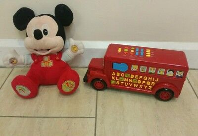 £20.50 • Buy VTech Red Playtime Bus Kids Educational Learning Numbers & Phonics Mickey Mouse