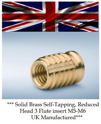 £3.95 • Buy M5 & M6 Threaded Solid Brass Self Tap, Screwfit Reduced Head Insert For Plastics