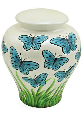 $169 • Buy Blue Butterfies Ceramic Urn For Ashes Adult Size
