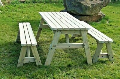V-TORIA Rounded Picnic Table Bench Set - 3FT To 8FT - Garden Patio Furniture • 261.44£
