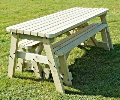 V-TORIA Compact Rounded Picnic Table Bench Set - 3FT To 8FT - Garden Furniture • 198.44£