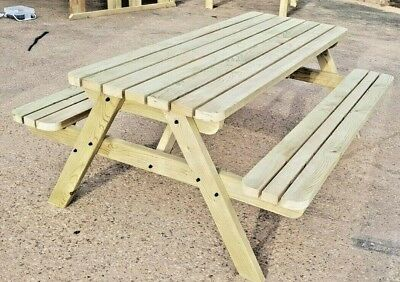 Premium Rounded Pub Style Picnic Table 4FT To 8FT - Garden Patio Furniture  • 189.50£