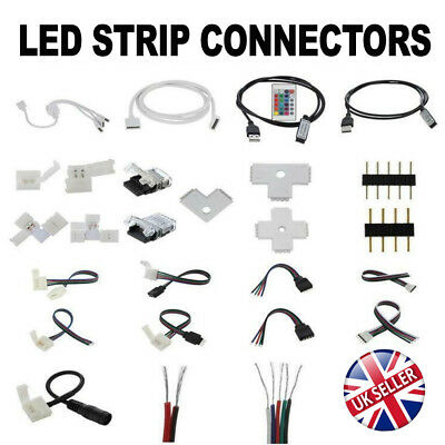 2/4/5Pin LED Strip RGB/W Hippo Adapter Clip Connector  Wire Extension Cable 5050 • 2.55£