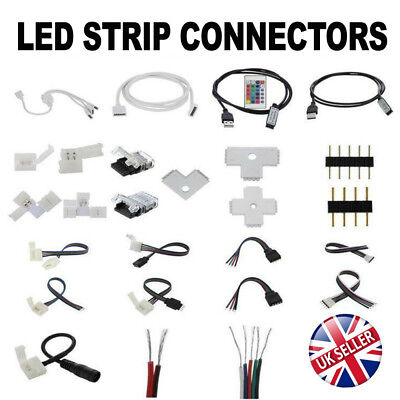 2/4/5Pin LED Strip RGB/W Hippo Adapter Clip Connector  Wire Extension Cable 5050 • 3.75£