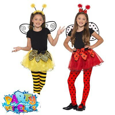 Girls Bumble Bee Lady Bird Costume Wings Tutu Kids Fancy Dress Childs Book Day • 10.99£