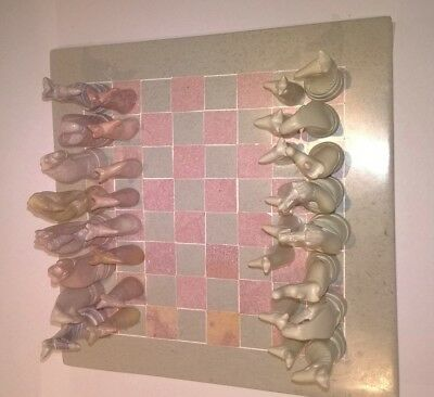 Small 8  X 8  Hand Carved Soapstone African Animal Chess Set • 19.95£