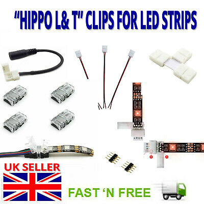 2/4/5 Pin Hippo Adapter Clip Extension Cable Wire Splitter For LED Strip Light • 0.99£
