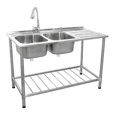 Catering Sink Commercial Stainless Steel Kitchen Double Bowl Drainer Unit & Tap • 259.99£
