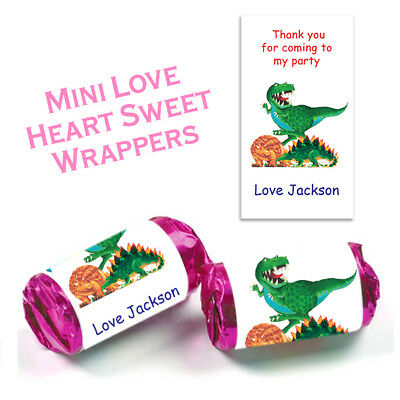 £2.99 • Buy Personalised Dinosaur Mini Love Heart Wrappers Stickers Childrens Party Favours