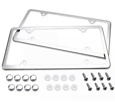 $8.50 • Buy 2x Slim Silver Stainless Steel License Plate Plate Frame+a Set Of Screw Package