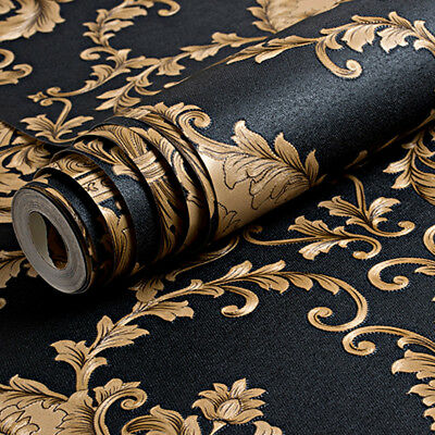 Gold Black Damask Wallpaper Luxury Metallic Texture Embossed  • 13.99£