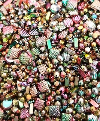 £1.99 • Buy 10g Mixed Gold, Silver, Rainbow & Copper Spacer Beads Jewellery Charms For Craft