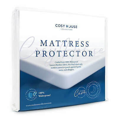 $ CDN34.11 • Buy Mattress Protector Waterproof Luxury Bamboo Hypoallergenic Fitted Bed Cover Pad