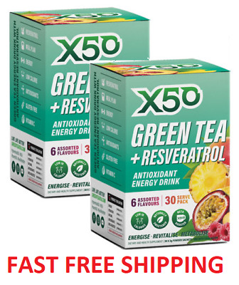 AU47.95 • Buy X50 GREEN TEA 60 Serv 2x30 SERVES TWIN PACK DETOX  TRIBECA THERMOGENIC OXYSHRED