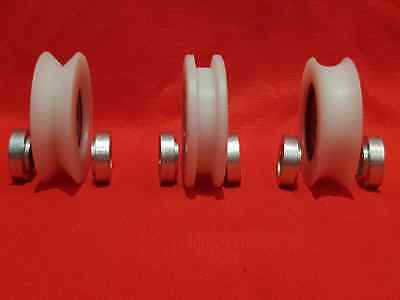 £8.50 • Buy 52mm Nylon Pulley Wheel With Ball Bearings Various Groove Size Precisely Turned.