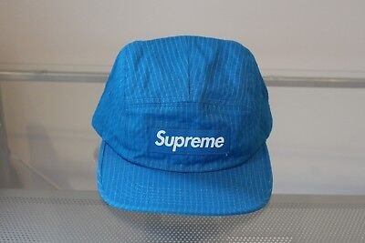 $ CDN110.56 • Buy Supreme Overdyed Ripstop Camp Cap Blue FW17 DS New Hat Strapback White Black Lot