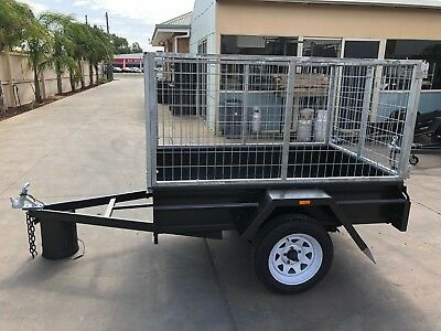 AU1765 • Buy 7X4 Single Axle Box Trailer | 3FT Cage | 750kg | Fixed Front | NEW