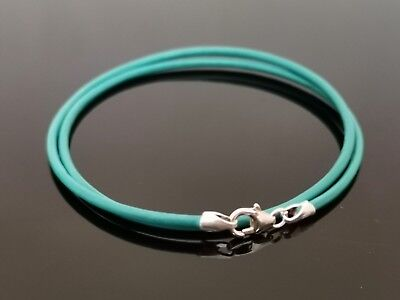 2mm Turquoise Leather Double Wrap Bracelet With Sterling Silver Lobster Clasp 7  • 5.76£