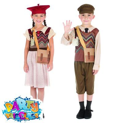 Kids Evacuee School Girl Boy Wartime Costume Childs Fancy Dress Outfit Book Day  • 12.49£