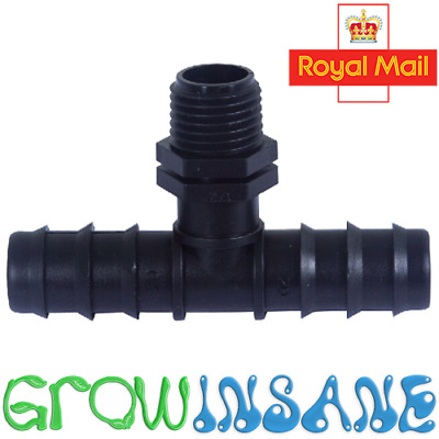 13mm Tee To 1/2  MALE BSP PVC THREADED PIPE FITTINGS TAP ADAPTER Irrigation LDPE • 2.25£