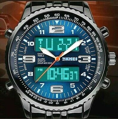 Luxury Men's Analog Digital Stainless Steel LED Army Military Sport Watch-Blue • 13.99£