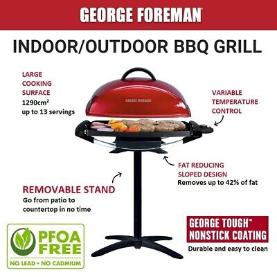 AU109.95 • Buy George Foreman Electric BBQ Grill Plate Griddle W Stand Indoor/Outdoor Portable