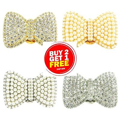 £6.26 • Buy New Decorative Bow Shoe Clip Ons Silver Gold Pearl Diamante Buckles Blank Bridal