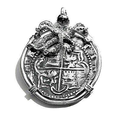 ATOCHA Coin Octopus Pendant Sterling Silver Nautical Treasure Shipwreck Jewelry • 120$