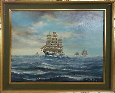 Oil On Canvas Board Signed Jack Strickland. Ships At Sea • 149£